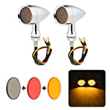 PBYMT Motorcycle Bullet Turn Signal Light Amber Lamp Compatible for Chopper Bobber Cruiser Honda Suzuki Kawasaki Yamaha Harley BMW and More (Chrome Housing)