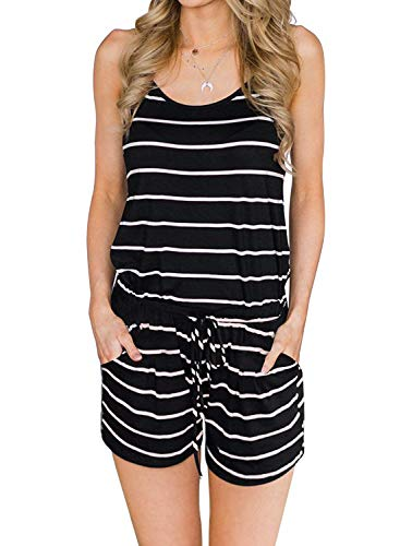 Artfish Womens Summer Loose Spaghetti Strap Lounge Pajamas Rompers Shorts Jumpsuits with Pocktes (Black Striped,XL)