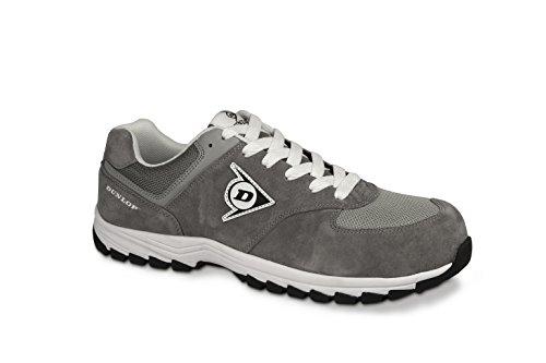 Dunlop Flying Arrow Sicherheitsschuh Arbeitsschuh S3 mit Zehenkappe, sportlich & atmungsaktiv, grau, Größe: 43 + ACE Schuhbeutel