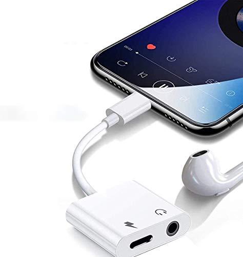 Adaptador de Auriculares para iPhone 11 [Llamada Audio Remoto] Jack de Audio Adaptador para iPhone 11Pro Max/11Pro/XS MAX/XS/XR/X/7/7Plus/8/8 Plus 4 in 1 Conector de Auriculares para Todos iOS