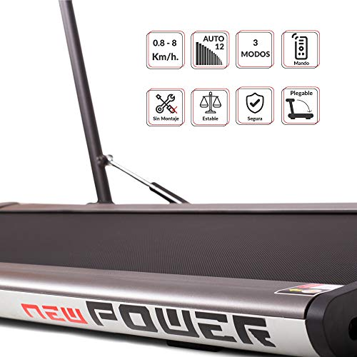 41mOqE3J1iL - NEWPOWER - Cinta de Andar Eléctrica Plegable Slim (1100W) Ultrafina, hasta 8km/h, 12 Programas Automáticos, 3 Modos (Velocidad, Calorías, Tiempo) y Estructura Aluminio. Sin Montaje. Incluye Mando