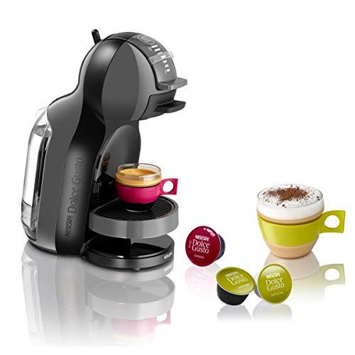 Krups Nescafé Dolce Gusto Mini Me KP1208 Kapsel Kaffeemaschine (für heiße und kalte Getränke, 15 bar Pumpendruck, automatische Wasserdosierung, Flow-Stop Technologie, 0,8 l Wassertank) anthrazit/grau
