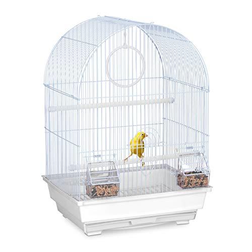 Relaxdays Vogelkäfig, Käfig Kanarienvögel & Zebrafinken, Sitzstangen, Schaukel, Futternäpfe, HBT 49,5x34,5x31 cm, weiß