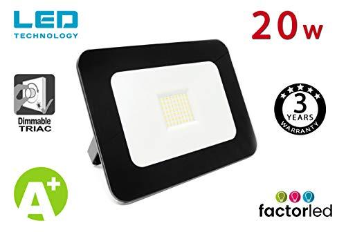 FactorLED Foco Proyector 20W LED Luxury Negro, Iluminación Exterior 2200Lm, Dimable TRIAC, Foco Led IP65, Diseño Arquitectónico [Eficiencia energética A+] Floodlight 20w Outdoor (Blanco Cálido)