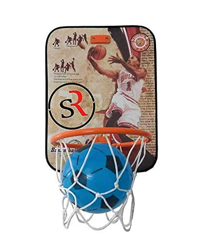 truvendor enterprises basket ball kit for kids playing indoor outdoor basket ball hanging wood board with ball sports- Multi color,Pack of 1 set