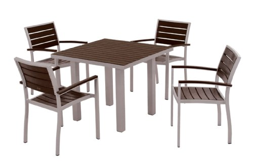 Hot Sale POLYWOOD PWS118-1-11MA 5-Piece Dining Set, Euro, Textured Silver/Mahogany