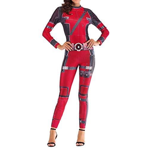 YQFZ Dames Deadpool Feestkleding Kostuum, Vrouwelijke Super Hero Bodysuit Spandex Jumpsuits, Kerstmis Halloween Show Cosplay Kostuum