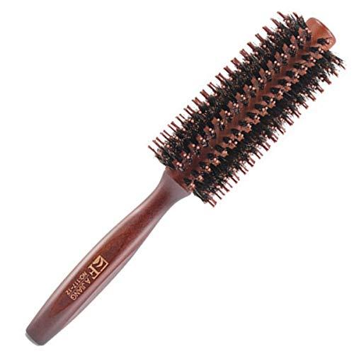 Brosse à cheveux ronde en bois de poils de sanglier naturels Brosse à cheveux antistatique pour coiffure, séchage, bouclage, ajouter du volume et de la brillance des cheveux