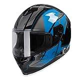 Bluetooth Motorcycle Helmet, FreedConn BM22 Full Face Built-in Bluetooth DOT Smart Helmets, Waterproof Motorbike Helmet with Dual Visors, 6 Riders Intercom, FM Radio,Siri(L, Blue)