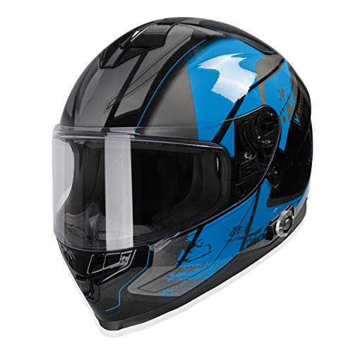 Bluetooth Motorcycle Helmet, FreedConn Full Face Built-in Bluetooth Intercom Waterproof Motorbike Helmet BM22 Bluetooth Evolution Modular Helmets with Dual Visors, 6 Riders Pairing, FM Radi (XL, Blue)
