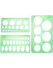 Juego de 3 plantillas de círculo, de plástico y reglas ovaladas, plantillas geométricas circulares para dibujo de encofrado de oficina y escuela (verde transparente)
