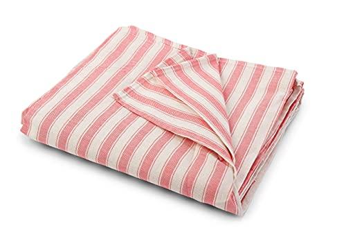 HomeLife - Funda para sofá a rayas fabricada en Italia | Sábana cubretodo multiusos de algodón | Granfoulard colcha para cama individual [160 x 280] | Tela decorativa Casa rosa 1 plaza
