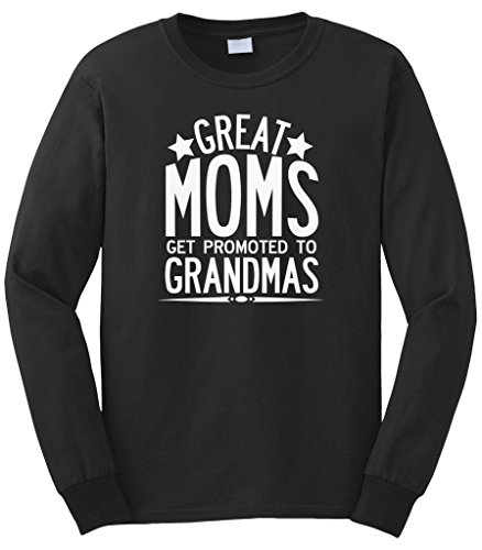 Cybertela Men's Mother's Day Gift Great Moms Get Promoted To Grandmas Long Sleeve T-Shirt (Black, X-Large)