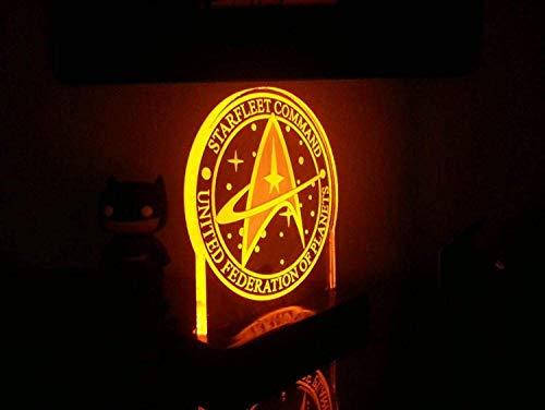Veilleuse 3D Star Trek Star Fleet Command Joint Led Night Light Lampe De Bureau 3D Chambre À Coucher Chevet Sleep Light-Star Trek_White Base: Coloré + Tactile