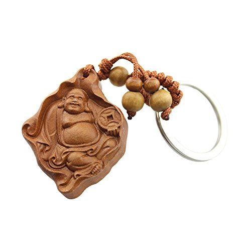 FOY-MALL Maitreya Buddha Rosewood Men/Women Car Keychain Keyring for Wealth and Peace M1016