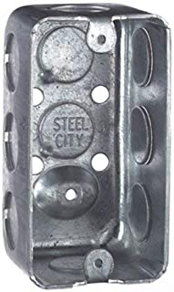 Pack of 3 - Steel City 58361-1/2 Handy/Utility Outlet Box, Drawn Construction, 4-Inch Length by 2-1/8-Inch Width by 1-7/8-Inch Depth, Galvanized