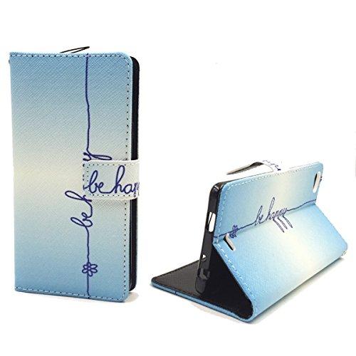 König Design Handyhülle Kompatibel mit Wiko Highway Pure Handytasche Schutzhülle Tasche Flip Hülle mit Kreditkartenfächern - Be Happy Blau