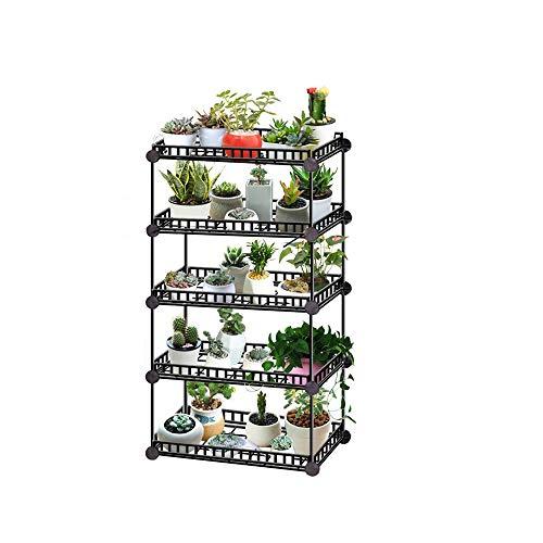 QPY - Soporte para plantas de metal alto bajo con estantes de flores, soporte de jardinería, organizador de almacenamiento, pantalla para balcón de jardín, exterior interior