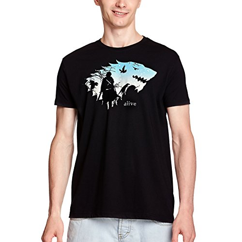 Elbenwald Jon está Vivo Camiseta para Hombre para el Juego de Tronos Ventiladores de algodón Negro - L