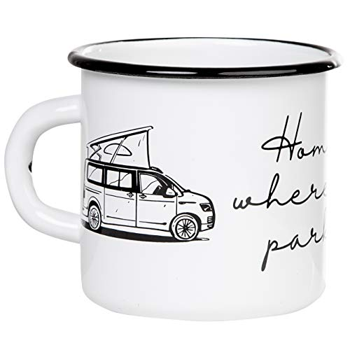 HOME IS WHERE YOU PARK IT | Hochwertiger Emaille Becher mit Campervan Motiv | leicht und bruchsicher, für Camping, Vanlife und Outdoor activities | von MUGSY.de