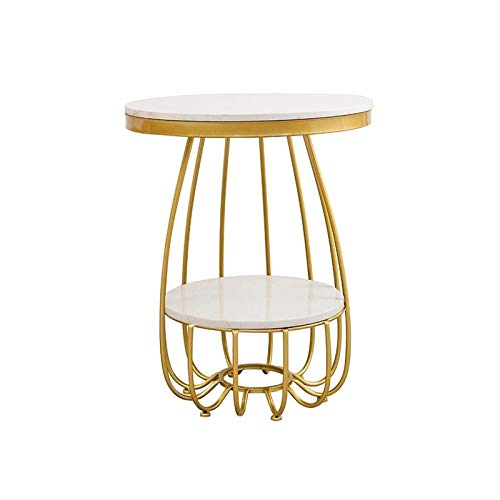 BZ-ZK Nordic Coffee Table, Round Marble Leisure Table Cafe Bedroom Side Table Stable Non-slip Decorate Furniture, 50 * 50 * 55CM(Size:50 * 50 * 55CM,Color:White)