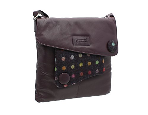 Mala Leather ABERTWEED Collection Leather & Tweed Cross Body Bag 730_40 Plum Spot