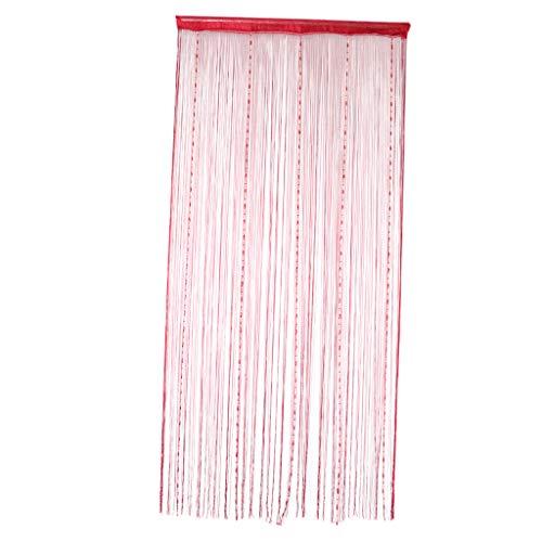 B Blesiya Dekorativer Fadenvorhang mit Perlen Wandvorhang Fadengardine Türvorhang Fenstervorhang 100 x 200 cm - Rot_1
