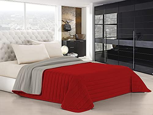 Italian Bed Linen Colcha de Verano Elegant, Rojo/Gris Claro, matrimonial, 260 x 270 cm