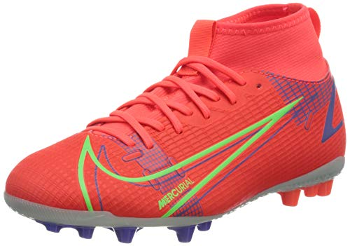 Nike JR Superfly 8 Academy AG, Scarpe da Calcio, BRT Crimson/Mtlc Silver-Indigo Burst-White-Rage Green, 37.5 EU
