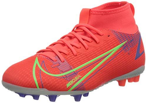 Nike JR Superfly 8 Academy AG, Scarpe da Calcio, BRT Crimson/Mtlc Silver-Indigo Burst-White-Rage Green, 33 EU
