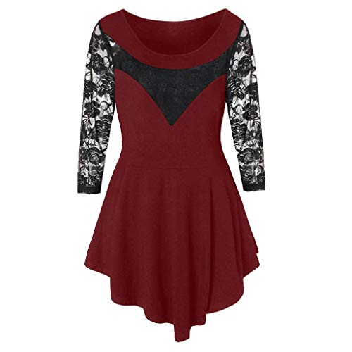 Sauahy Ladies Tops for Womens Plus Size Solid Floral Lace O-Neck Shirts Asymmetric Three Quarter Sexy Blouse Red