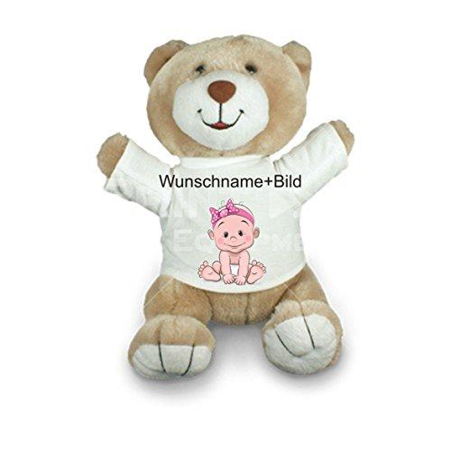 Creativ Deluxe Plüsch Teddy - Stofftier Fred Sitzhöhe 22 cm mit T-Shirt - mit Wunschtext und Bild nach ihren Wünschen