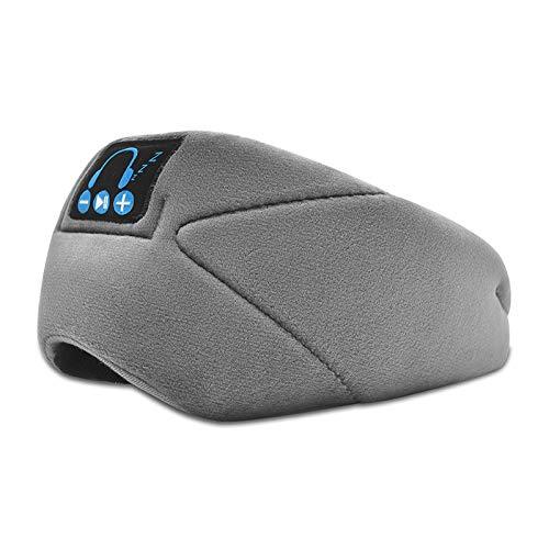 Drahtlose Bluetooth-Augenmaske V5.0 Headset binauraler Musik-Sound hilft Ihnen zu schlafen, ohne Druck auf Ihre Ohren kann Schlaf-Augenmaske sprechen grau