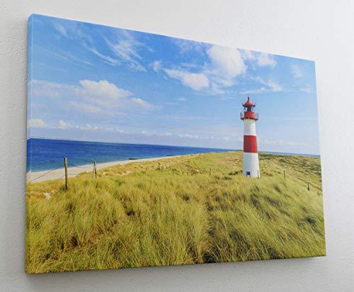 Sylt Leuchtturm Meer Insel Strand Sand Leinwand Bild Wandbild Kunstdruck L0529 Größe 100 cm x 70 cm