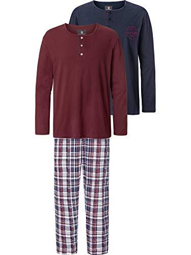 Jan Vanderstorm Herren Schlafanzug Helimar (Pyjama-Set, Lang) dunkelblau 3XL (XXXL) - 64/66