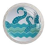 Tirador de manijas de cajón para el hogar, cocina, tocador, armario-Tentáculos de animales en el mar azul