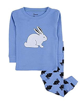 Leveret Kids Pajamas Bunny Rabbit Boys Girls 2 Piece Pajama Set 100% Cotton (Blue,Size 10 Years)