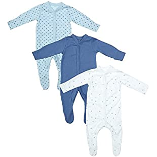 Mothercare Baby Boys' Blue 3 Pack Sleep Sleepsuit, Multicolour (Lights Multi), Newborn (Manufacturer Size 56):Viralbuzz