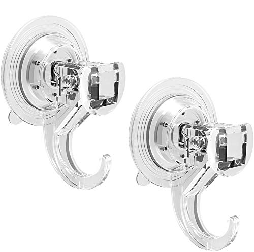 Quntis Suction Hooks 2 Packs Powerful Push and Lock Vacuum Multi-Purpose Suction Hanger Strong Absorption Suction Cup Holds Up to 3kg Transparent Design for Kitchen and Bathroom