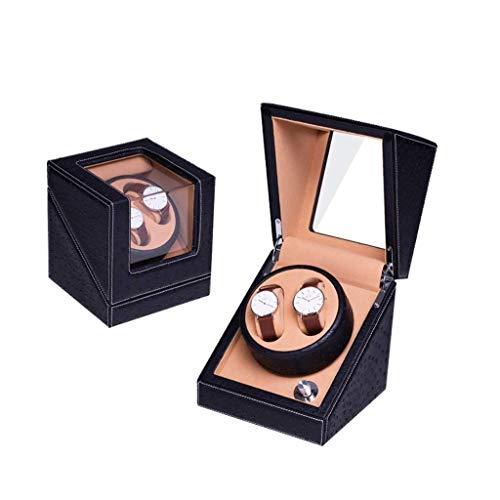 LKAIBIN Hogar automático Watch Winder Caja, for 2 Reloj de Pulsera Relojes de Madera a Prueba de Agua con Curvas Caso UltraQuiet rotación Vueltas por día, Tres de Color (Color : Black)