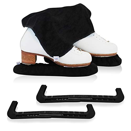 CRS Cross Skate Guards, Soakers & Towel Gift Set - Ice Skating Guards and Soft Skate Blade Covers for Figure Skating or Hockey (Biellmann Black, Large)