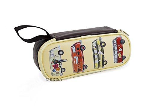 BRISA VW Collection - Volkswagen Furgoneta Hippie Bus T1 Van Estuche para lápices de polipiel (PU), Caja de papelería,Bolso de Maquillaje-Cosméticos, para Escuela/Oficina/Regalo (Vehículos especiales)