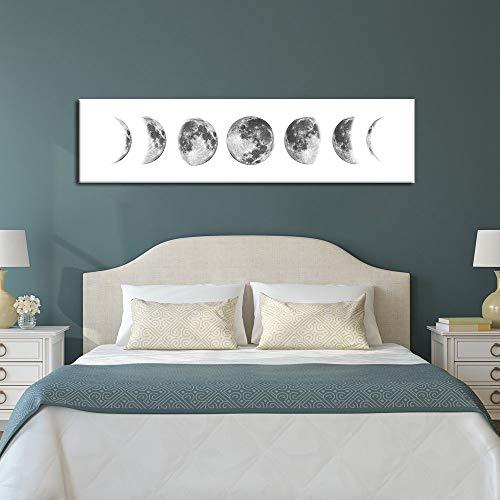 Cartel Eclipse Lunar Fotografía En Blanco Y Negro Decoración Del Hogar Lienzo Pintura Moderna Minimalista Dormitorio Mesita De Noche Colgando Cuadro Sin Marco Pintura Núcleo (A/No Frame 30*120cm)