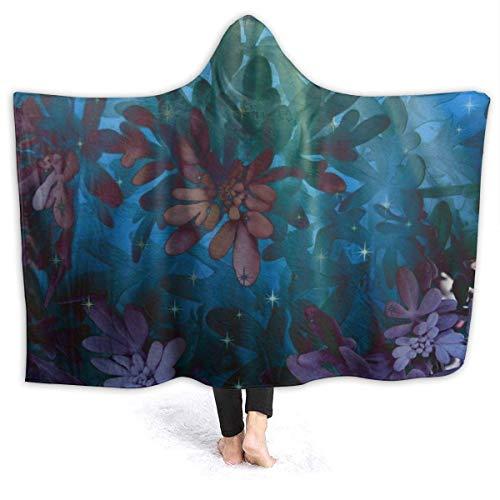 AEMAPE Farbwechselnde Blume in der Sonne Herren Kapuzendecke Superweiche Flanelldecke Hoodie Tragbarer Kapuzenmantel mit Kapuze für Bademantel 60 'x 50'