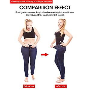 Burvogue Waist Trainer for Weight Loss-Women Trimmer Slimmer Belt Latex Corset Cincher Body Shaper … (Black 9-steel bones, Medium)