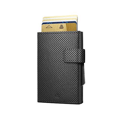 Ögon Smart Wallets - Cascade Wallet Automatischer Kartenetui Brieftasche für 8 Karten und Banknoten, RFID-Blockierung - Leder und Aluminium (Veganes Leder Traforato Schwarz Interior Schwarz)