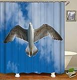 LGY Fliegende Tauben. Duschvorhang. Badezimmerzubehör. Wasserdicht. Enthält 12 Haken. Duschvorhangstangenringhaken. Hintergr&. Party. Wohnzimmer.