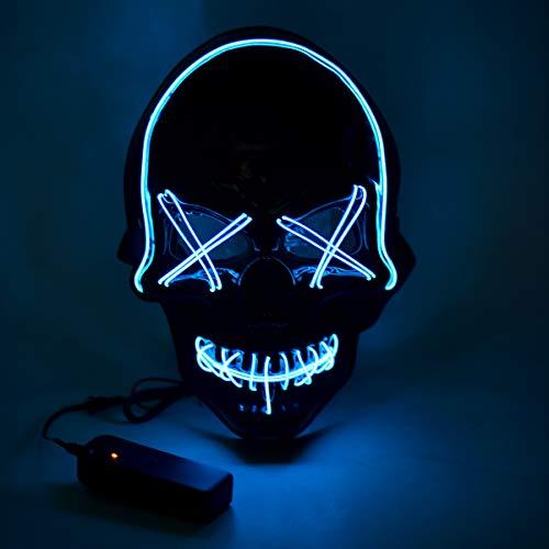 Queta Máscara de Halloween LED con 3 modos de flash para Halloween, festivales, carnaval, fiestas, disfraces, decoración (azul)
