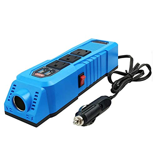 AMAZOM Inversor De Corriente De 200 W 50 Hz, Convertidor De 12 V CC A 220 V CA con Enchufes USB Dobles De 2.4 A Y 3 Enchufes De CA, Cargador De Coche De Material ABS Ignífugo,24V