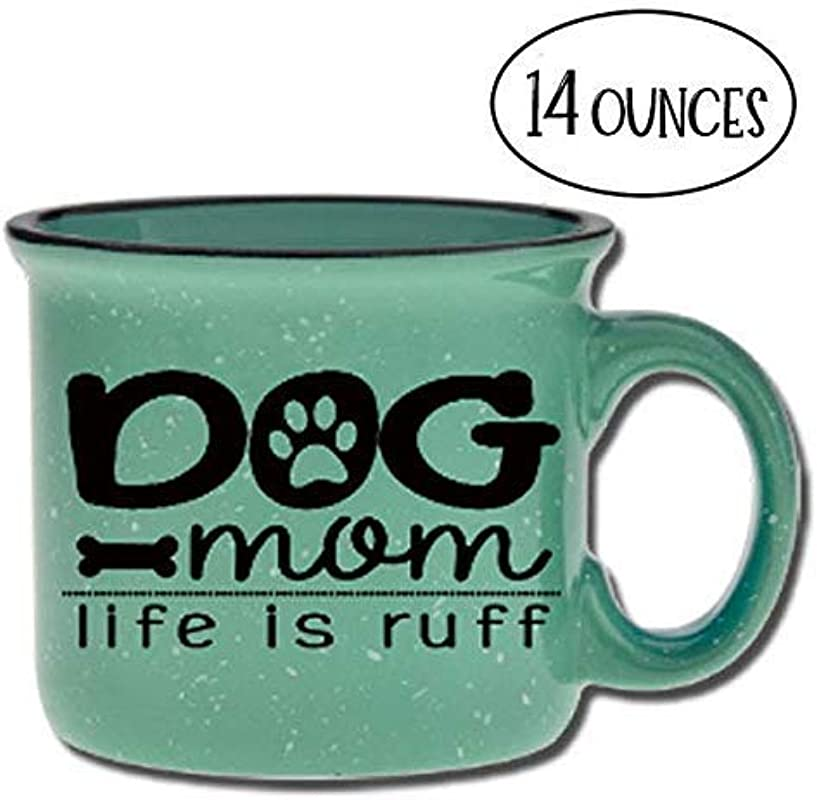 Dog Mom Life Is Ruff Ceramic Camper Coffee Mug Teal 14 Oz Large Coffee Cup Novelty Mugs Are Perfect Gift For Women Mom Her Dog Lover Dog Stuff Under 20
